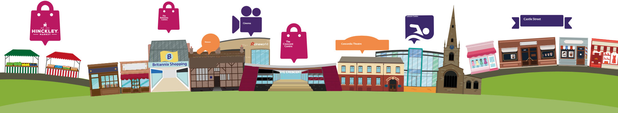 A graphic of a range of Hinckley shops, venues and businesses
